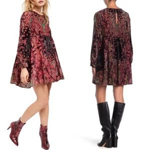 NWT Free People Mirror, Mirror LS Velvet Minidress